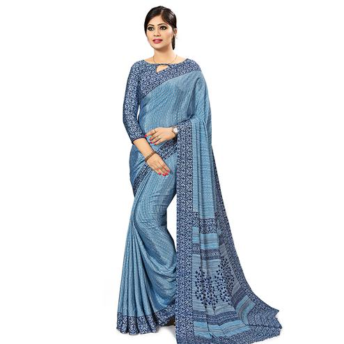 Innovative Light Blue Colored Casual Wear Printed Crepe Saree