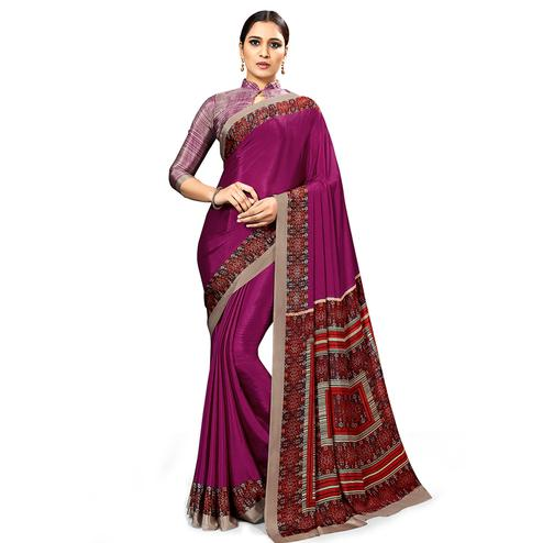 Eye-catching Wine Colored Casual Wear Printed Crepe Saree