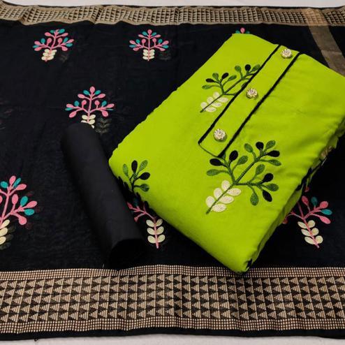 Preferable Green Colored Partywear Embroidered Cotton Dress Material