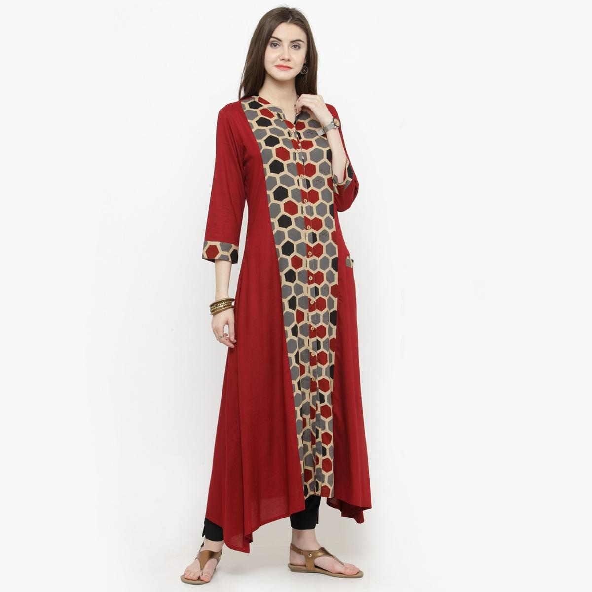 Maroon Colored Printed Rayon Kurti