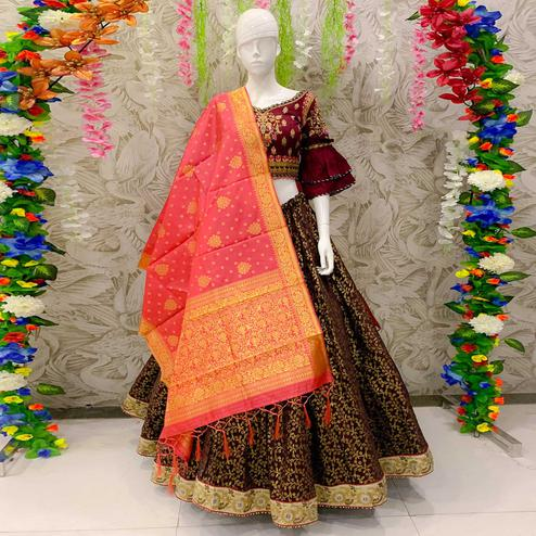 Elegant Maroon Colored Designer Wedding Wear Woven Banarasi Silk Lehenga Choli