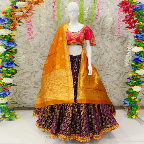 Radiant Wine Colored Designer Wedding Wear Woven Banarasi Silk Lehenga Choli