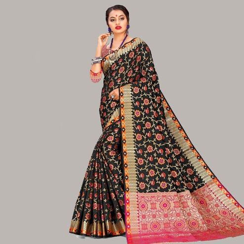 Gleaming Black Colored Festive Wear Woven Banarasi Silk Saree