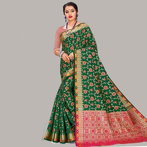 Mesmeric Green Colored Festive Wear Woven Banarasi Silk Saree