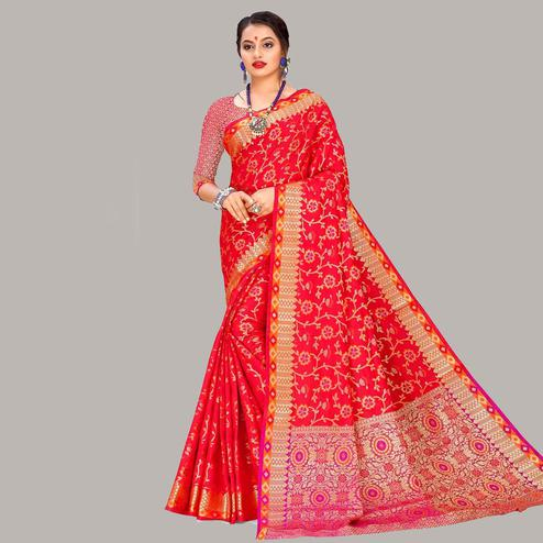 Unique Red Colored Festive Wear Woven Banarasi Silk Saree