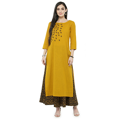 Mustard Yellow Colored Printed Cotton Kurti