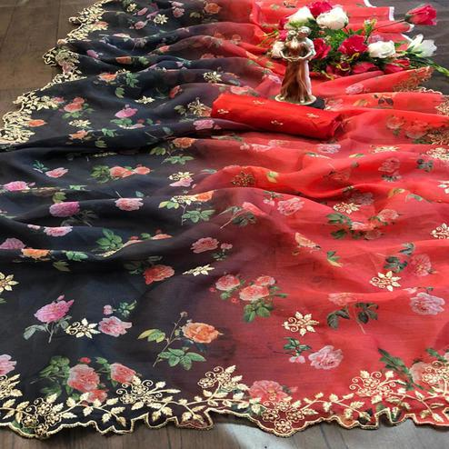 Hypnotic Black - Red Colored Festive Wear Embroidered Pure Organza Saree