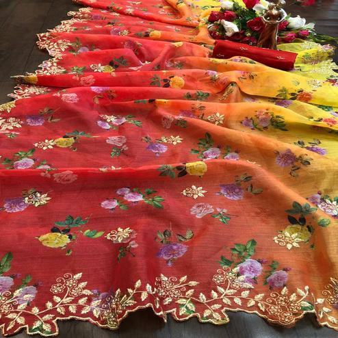 Excellent Red - Yellow Colored Festive Wear Embroidered Pure Organza Saree