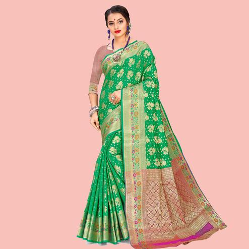 Flamboyant Green Colored Festive Wear Woven Art Silk Saree