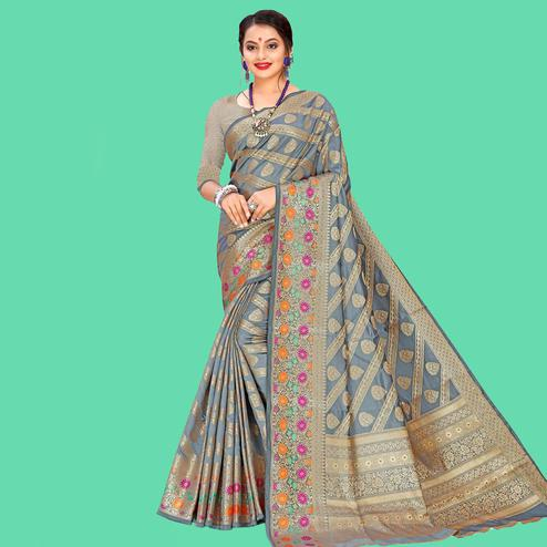Sensational Grey Colored Festive Wear Woven Banarasi Silk Saree