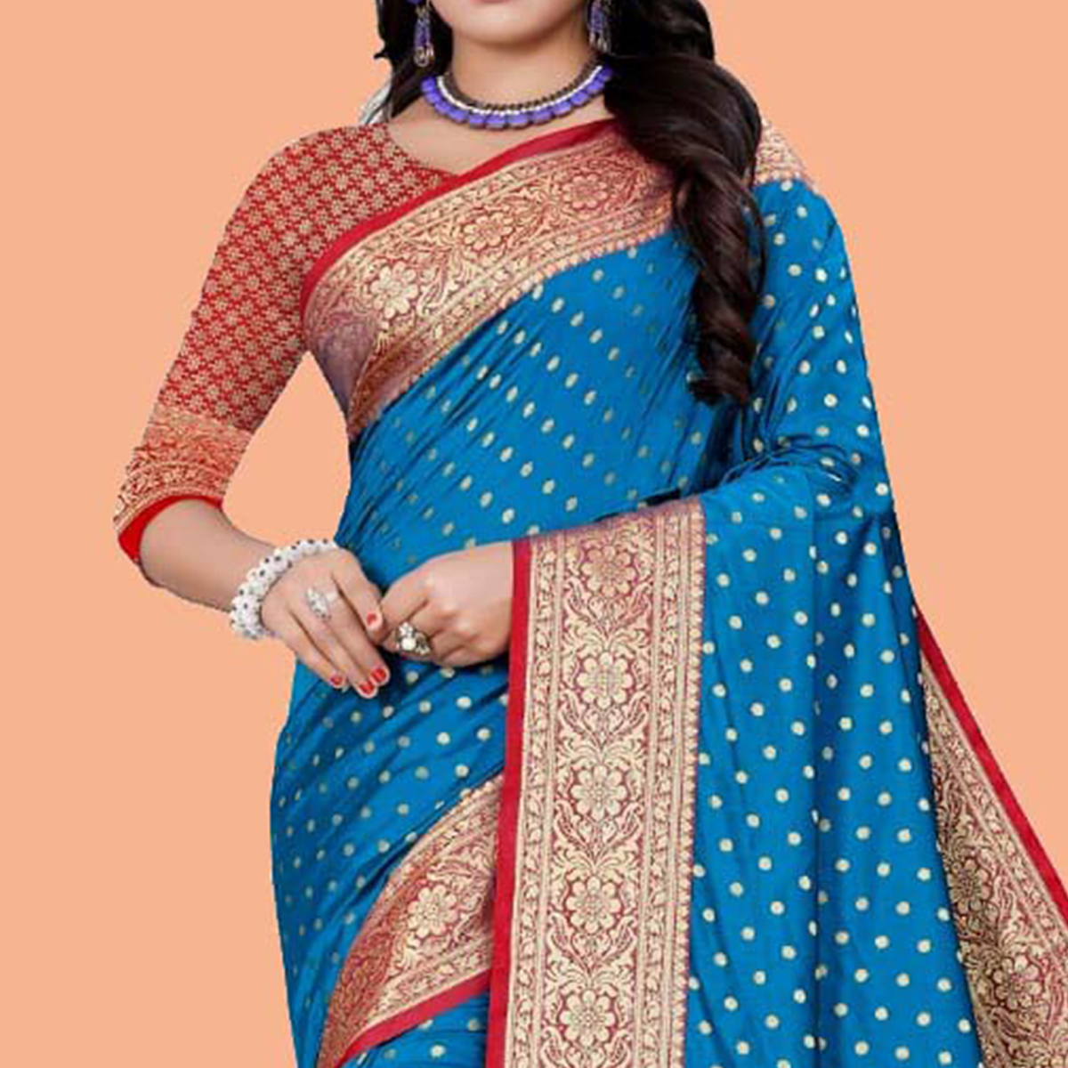 Prominent Blue Colored Festive Wear Woven Silk Blend Saree