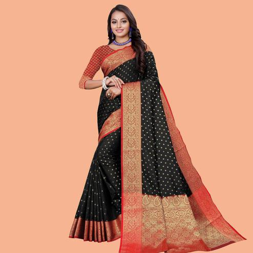 Capricious Black Colored Festive Wear Woven Silk Blend Saree
