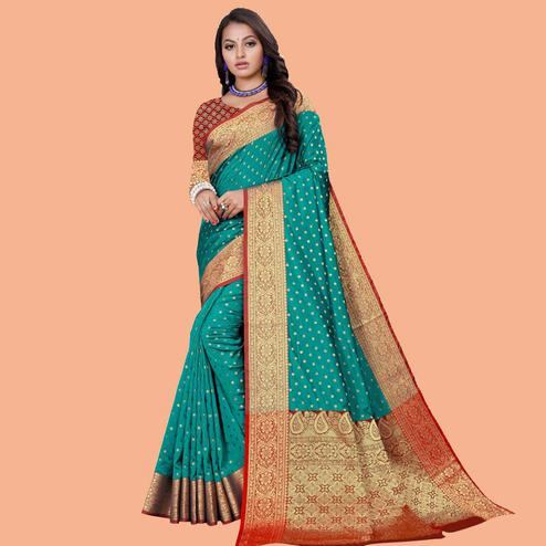 Entrancing Rama Colored Festive Wear Woven Silk Blend Saree
