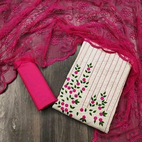 Pleasance Offwhite - Pink Colored Partywear Embroidered Khadi Cotton Dress Material