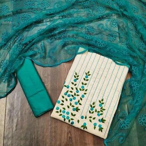 Ethnic Offwhite - Turquoise Colored Partywear Embroidered Khadi Cotton Dress Material