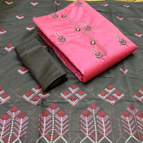 Staring Pink Colored Partywear Embroidered Cotton Dress Material