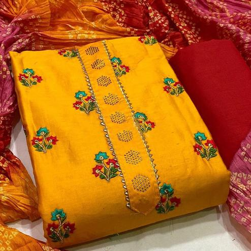 Arresting Yellow Colored Partywear Embroidered Cotton Dress Material