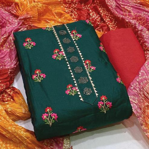 Sophisticated Green Colored Partywear Embroidered Cotton Dress Material