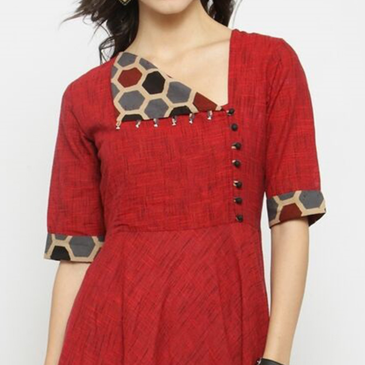 Red Colored Printed Cotton Kurti