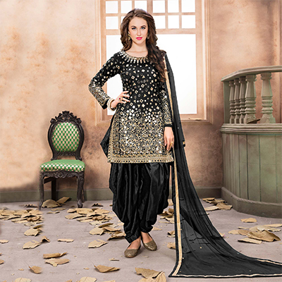 Sizzling Black Designer Embroidered Partywear Tapetta Silk Patiala Suit