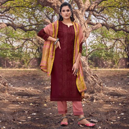 Gleaming Maroon Colored Partywear Embroidered Cotton Silk Straight Suit