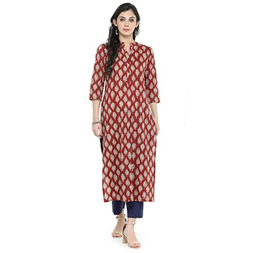 Maroon Colored Printed Cotton Kurti