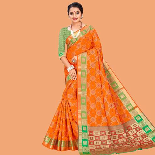 Innovative Orange Colored Festive Wear Digital Printed Cotton Silk Saree