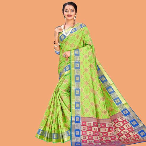 Fantastic Green Colored Festive Wear Digital Printed Cotton Silk Saree