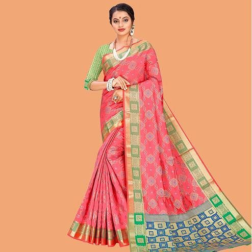 Amazing Peach Colored Festive Wear Digital Printed Cotton Silk Saree