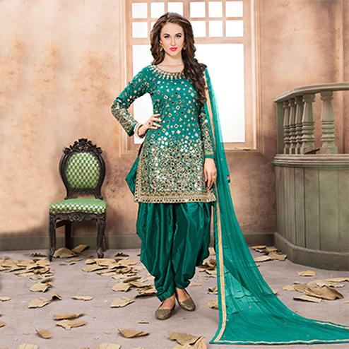 Blooming Green Designer Embroidered Partywear Tapetta Silk Patiala Suit