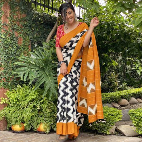 Ravishing White - Black Colored Partywear Printed Silk Saree