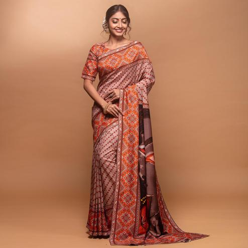 Arresting Light Peach Colored Festive Wear Laser Printed Silk Saree
