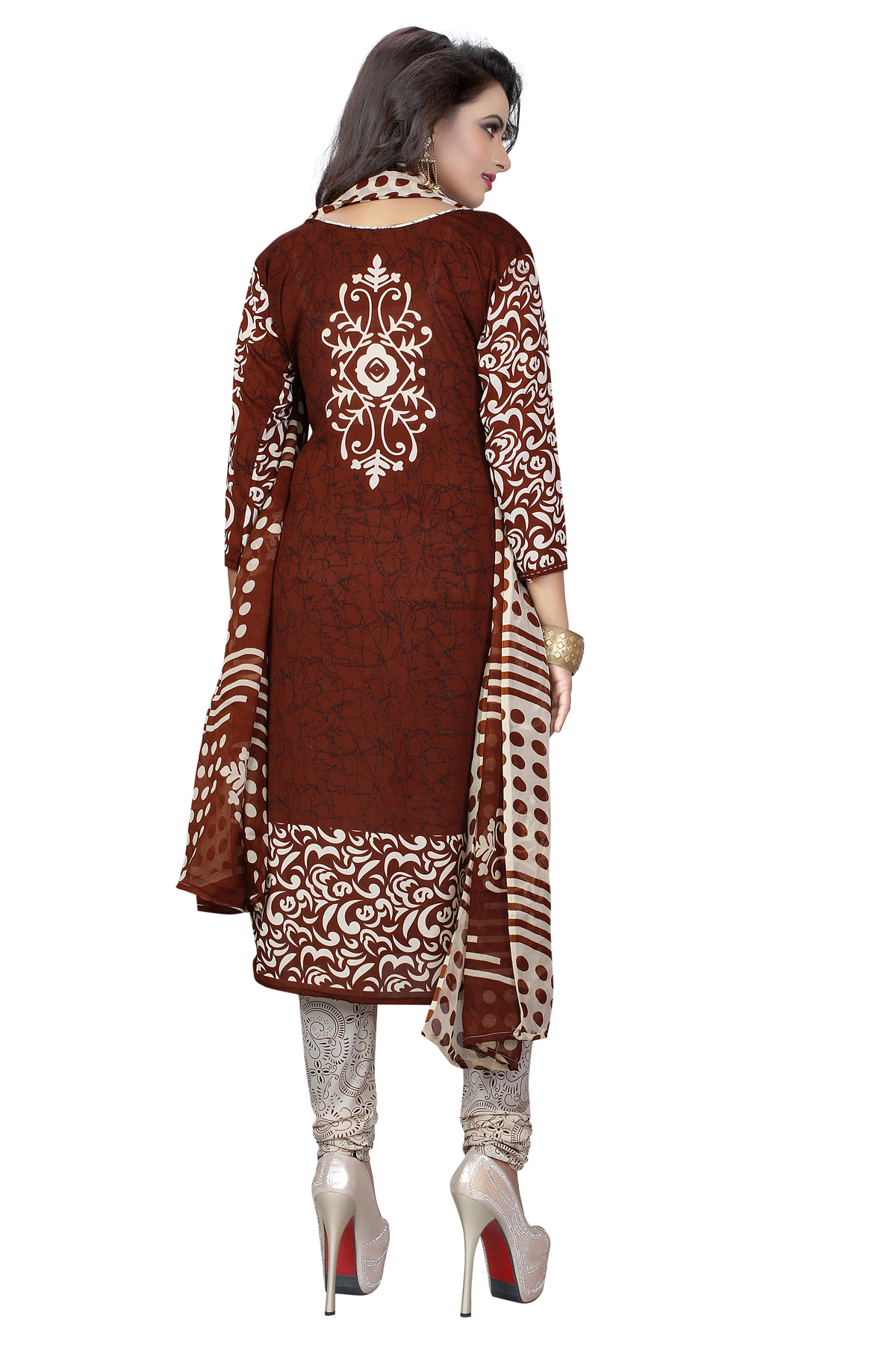 Maroon - White Leon Fabric Printed Suit