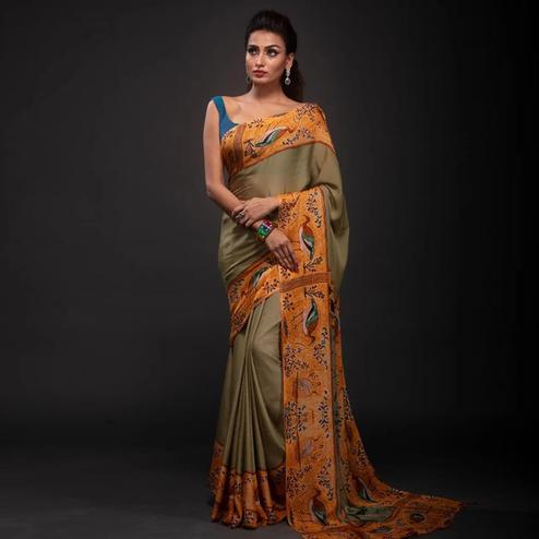 Trendy Beige Colored Festive Wear Laser Printed Silk Saree