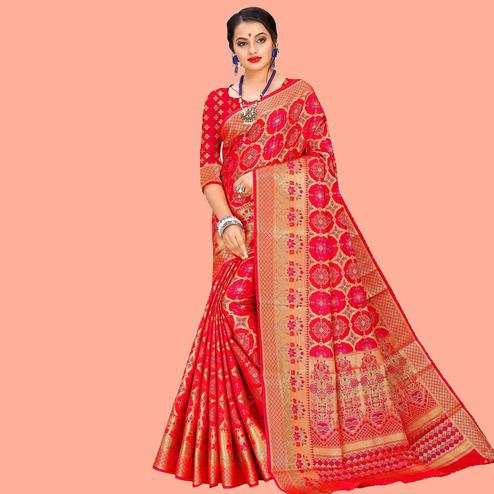 Refreshing Red Colored Festive Wear Woven Silk Blend Saree