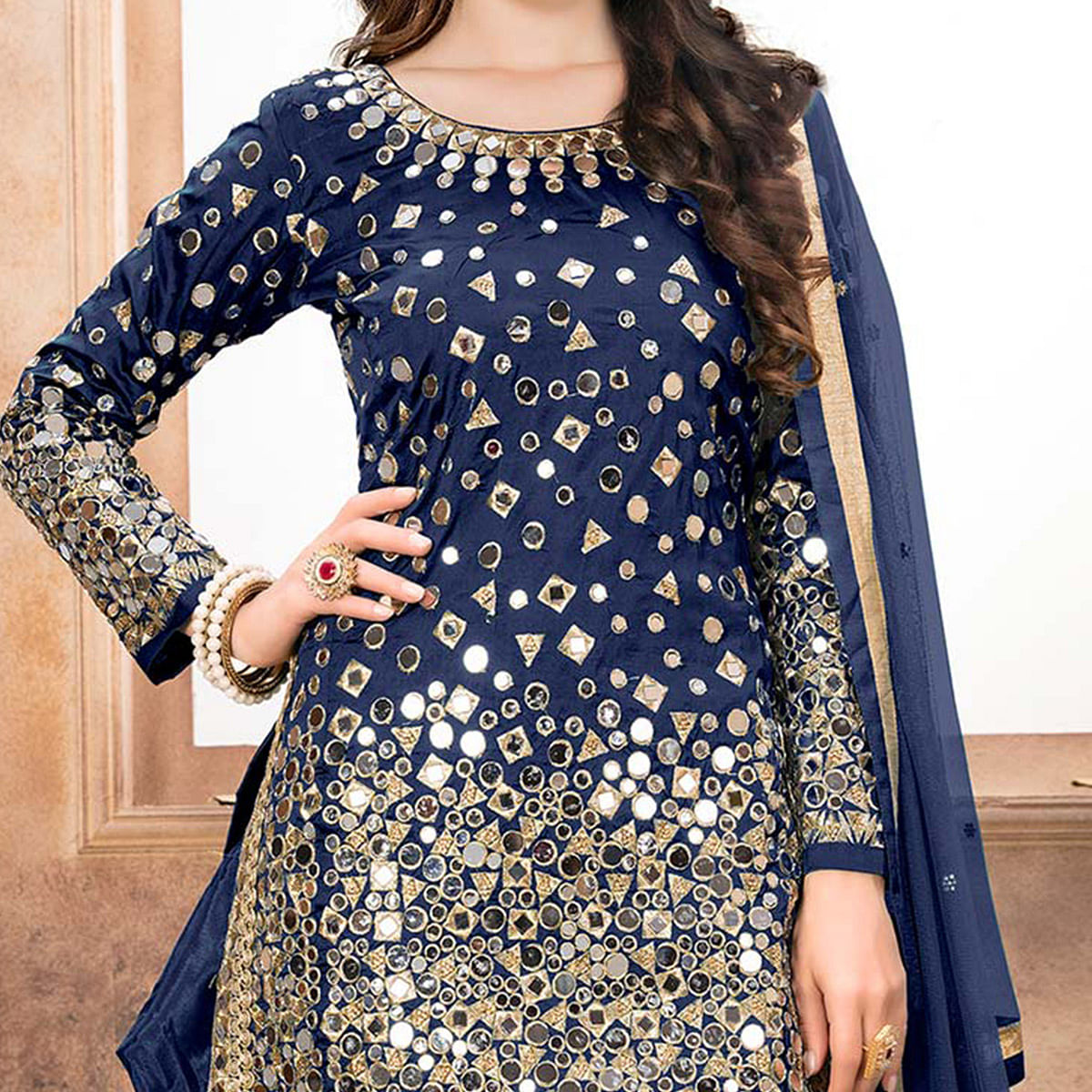 Stunning Navy Blue Designer Embroidered Partywear Tapetta Silk Patiala Suit