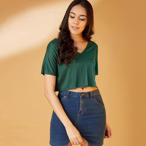 Chimpaaanzee - Green Colored Casual Poly viscose Top