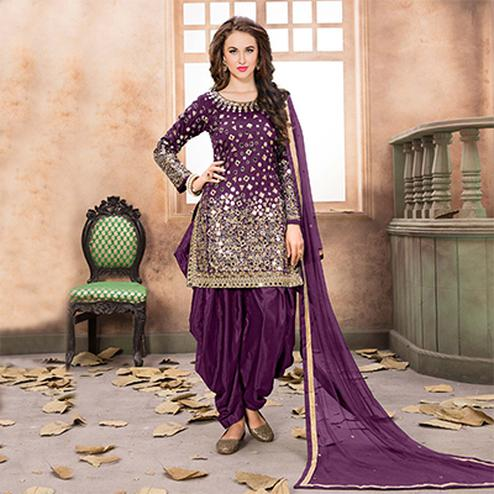 Mesmerising Purple Designer Embroidered Partywear Tapetta Silk Patiala Suit