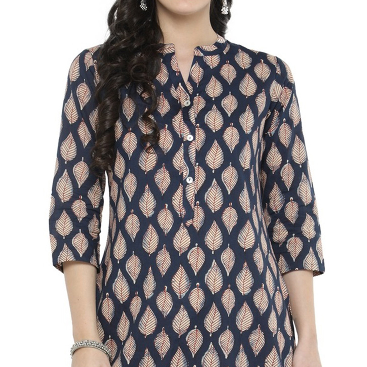 Navy Blue Colored Printed Cotton Kurti