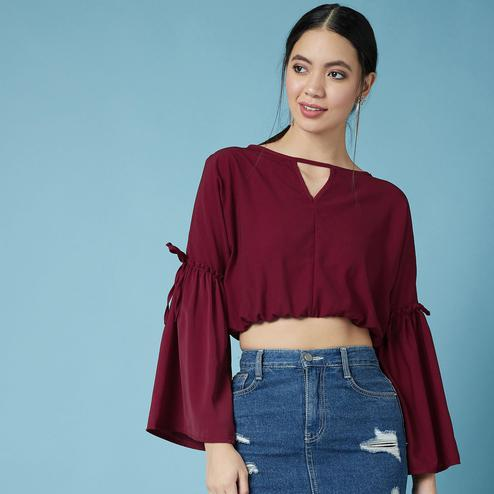 Chimpaaanzee - Maroon Colored Casual Polyester Top