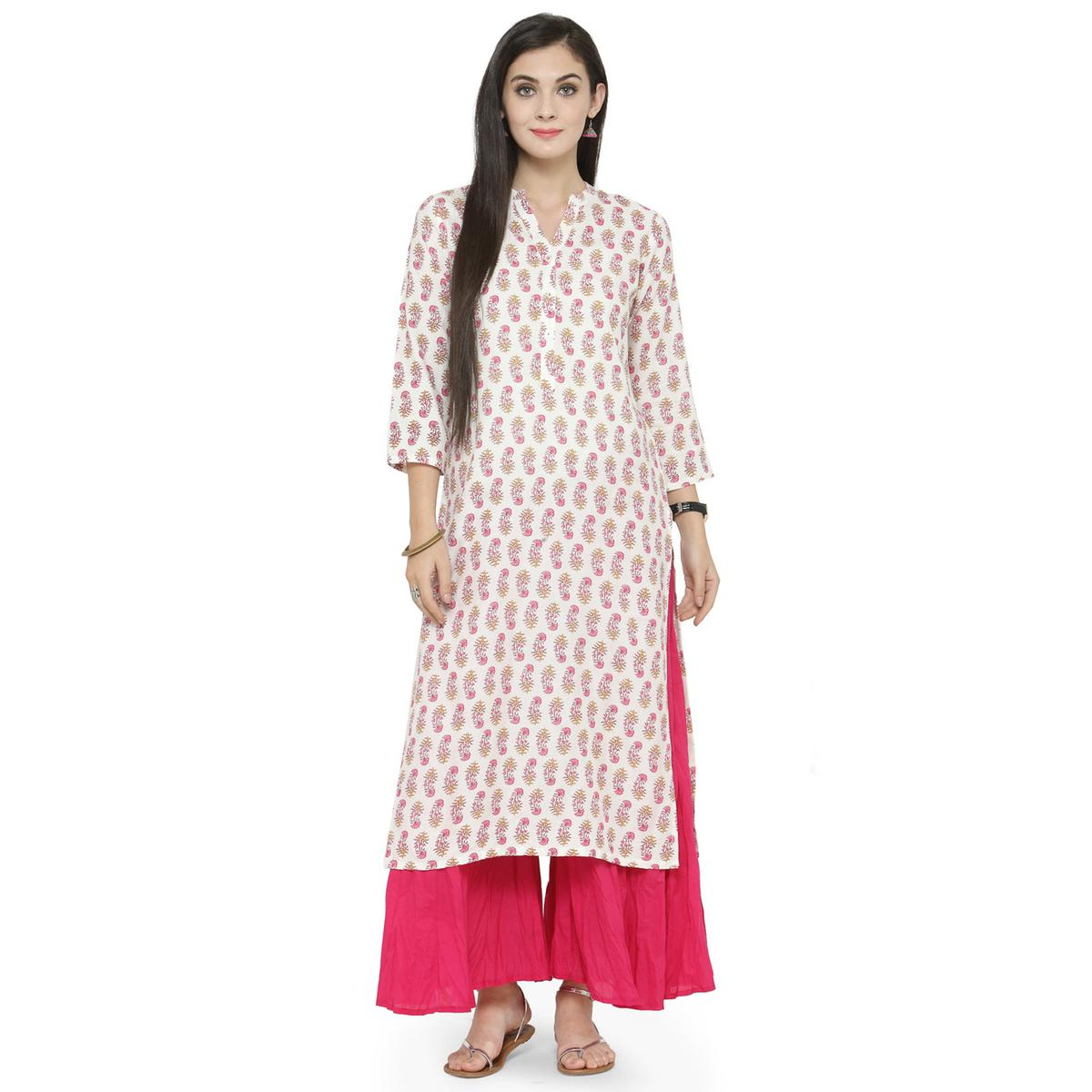 Off-White Colored Printed Rayon Kurti