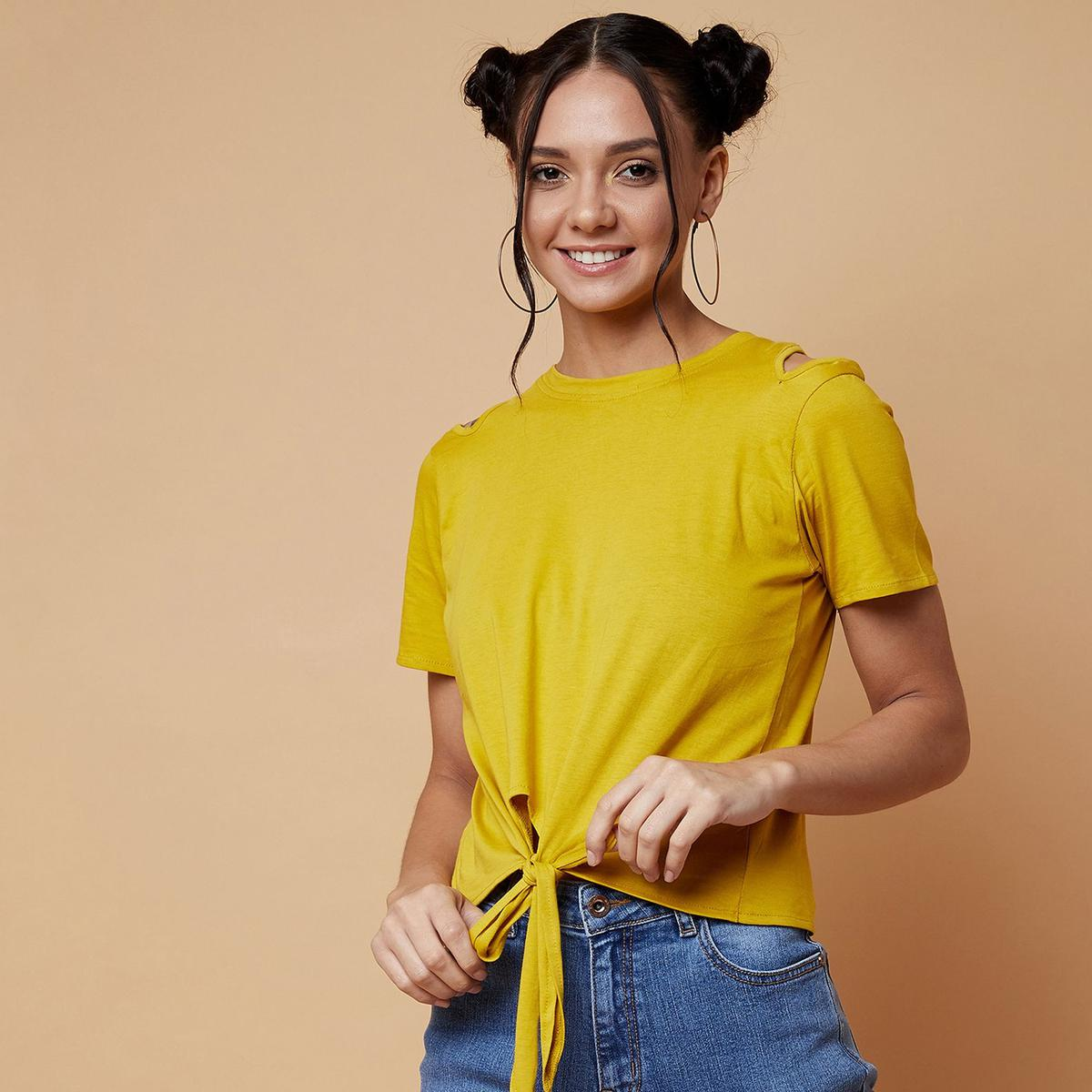 Chimpaaanzee - Yellow Colored Casual Cotton jersey Top
