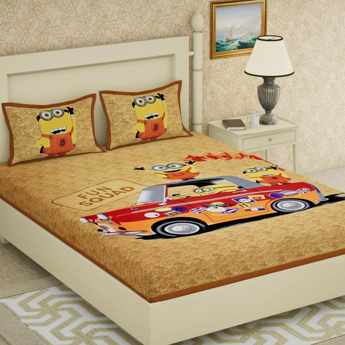 Diva Collection - Yellow Colored Cotton Double Bedsheet With 2 Pillow Cover
