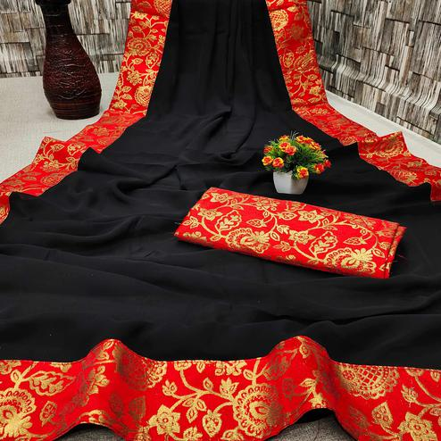 IRIS - Black Colored Partywear Georgette Saree