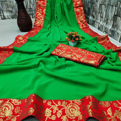 IRIS - Green Colored Partywear Georgette Saree