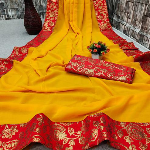 IRIS - Mustard Yellow Colored Partywear Georgette Saree