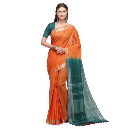 IRIS - Mustard Colored Casual Handloom Cotton Saree
