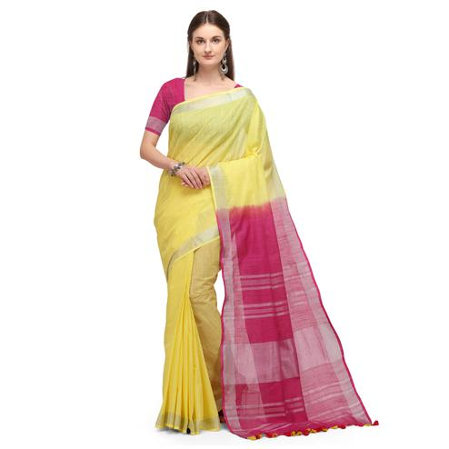 IRIS - Pink Colored Casual Handloom Cotton Saree