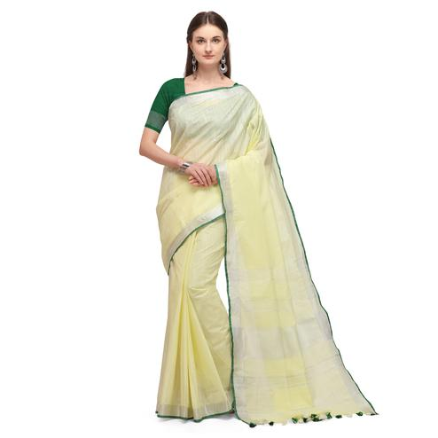 IRIS - Cream Colored Casual Handloom Cotton Saree