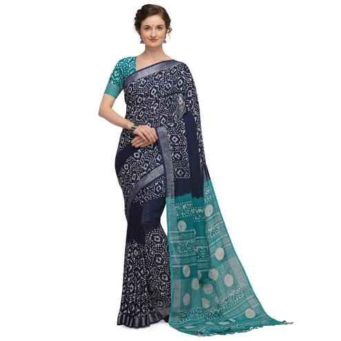 IRIS - Navy Blue Colored Casual Cotton Saree
